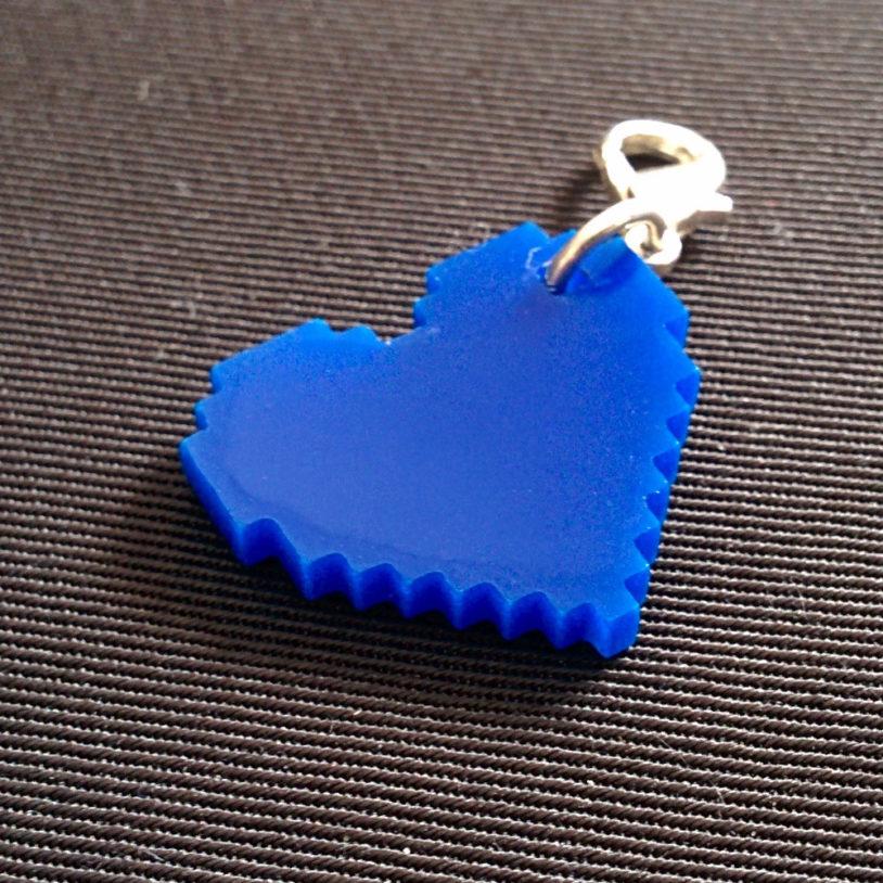 Blue Pixel Heart Charm