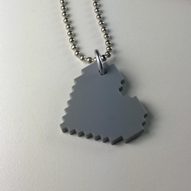 Grey Pixel Heart Neckalce
