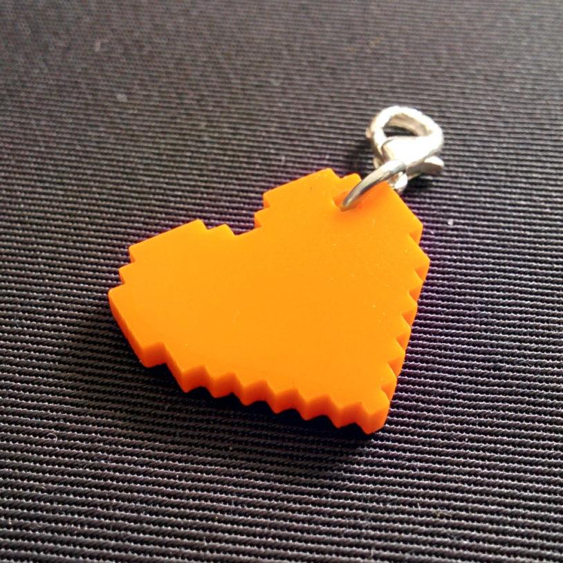 Orange Pixel Heart Charm