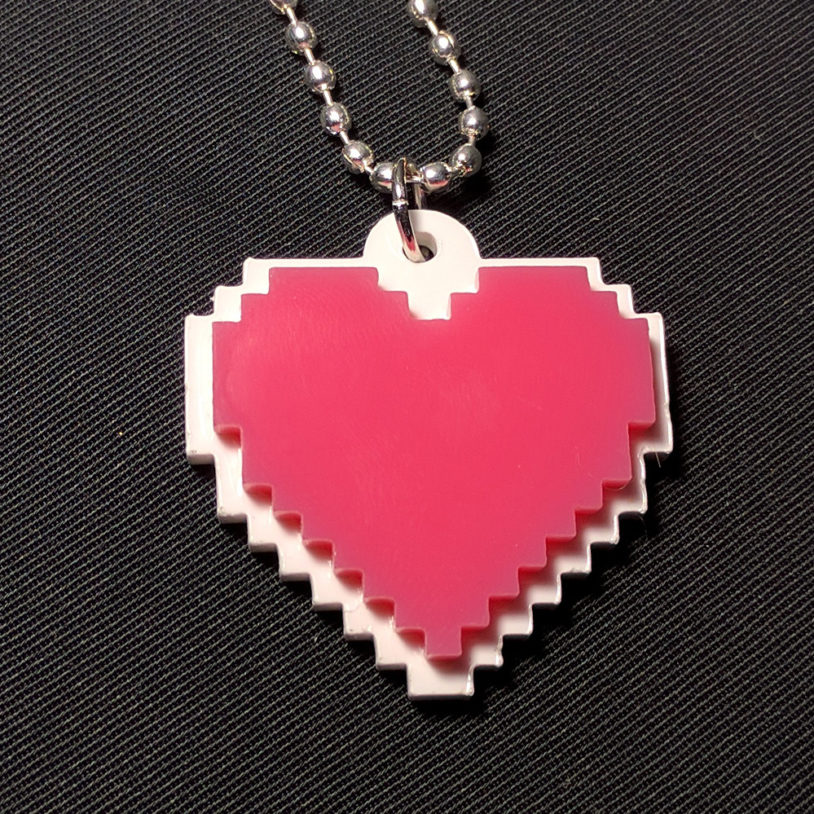 Pink and White Pixel Heart Necklace 1