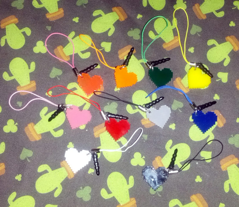 Pixel Heart Charms