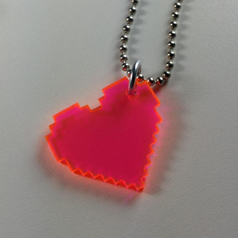 Translucent Pink Heart Neckalce