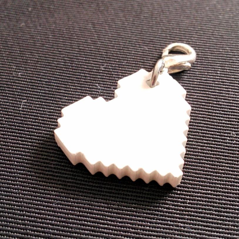 White Pixel Heart Charm