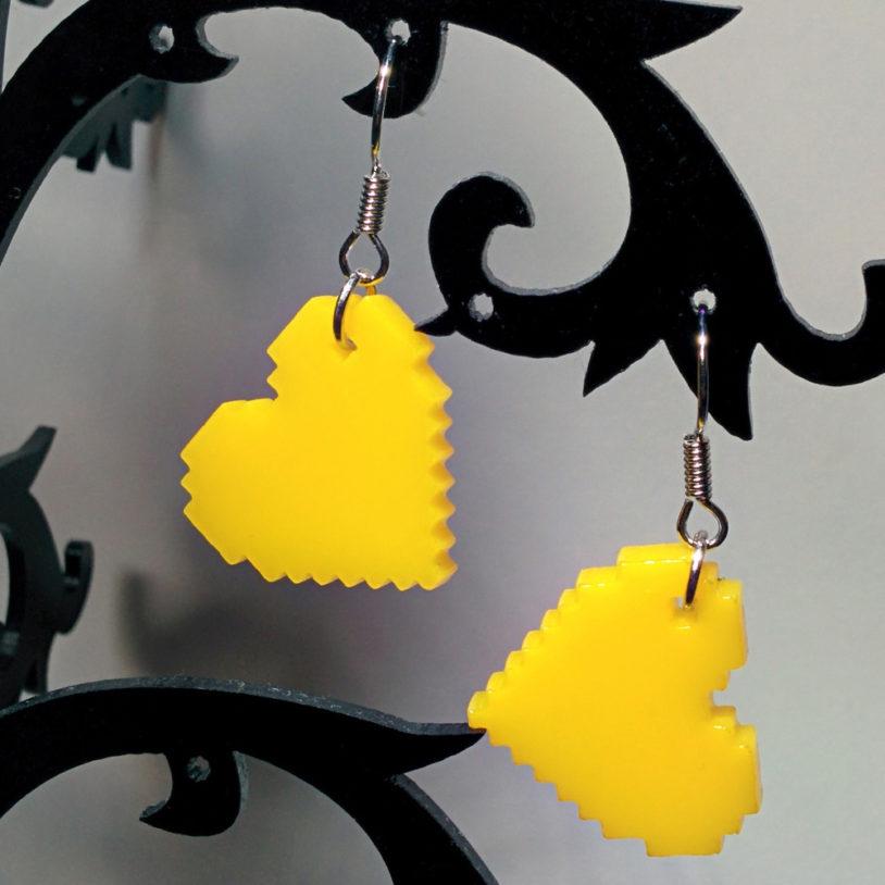 Yellow Pixel Heart Earrings2